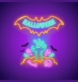 halloween neon sign with zombie hand vector image vector image