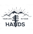 Hand drawn label with mountains signpost and vector image vector image