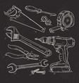 hand sketch icons set of carpentry tools on black vector image