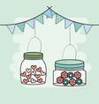 hanhing mason jars flowers garlands decoration vector image vector image