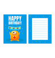 happy birthday banner template with cute funny vector image
