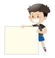 happy boy holding white board vector image vector image