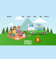 happy family on picnic together outdoor leisure vector image vector image