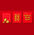 happy new year 2020 gold 3d balloon card set vector image