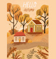 hello autumn hand drawn greeting card vector image