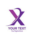 initial letter x logo template colored purple vector image