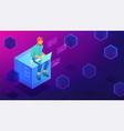 isometric blockchain development concept vector image