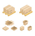 isometric cardboard boxes and pallet vector image
