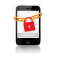 Locked Smartphone Isolated on White Backgrou vector image vector image