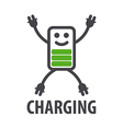 logo in the form of battery character vector image vector image