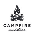 minimalist hipster bonfire logo vector image vector image