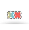 orange pastel blue alphabet letter xx x x logo vector image vector image