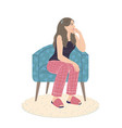 pensive young woman sitting in armchair vector image vector image