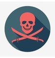 Pirate flag icon jolly roger skull and sabers vector image vector image