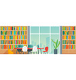 public library interior with bookshelves and desks vector image