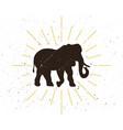 retro elephant silhouette logo vector image
