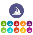 sailing ship set icons vector image vector image