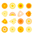 set icons sun isolated vector image vector image