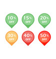 set of discount sign icon vector image vector image