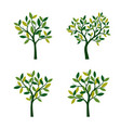 set of green spring trees vector image vector image