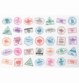 set travel visa stamps for passports abstract vector image