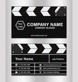simple clapperboard theme business name card vector image vector image