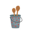 small metal bucket with two wooden spoons cartoon vector image