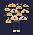 Smart device with cloud of application icons vector image vector image