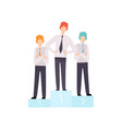 successful businessmen standing on pedestal vector image vector image