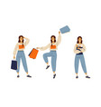 young girl shopping sale concept modern vector image
