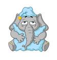 elephant wants to sleep hugging a pillow vector image