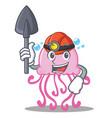 miner cute jellyfish character cartoon vector image
