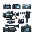 digital video cameras and different professional vector image