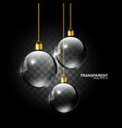 transparent glass sphere hanging christmas ball vector image