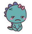 a dinosaur sad girl vector image vector image