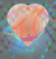 Abstract design with big heart and colored triangl vector image vector image