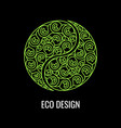 abstract natural linear logo green symbol yin vector image