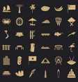 asian culture icons set simple style vector image vector image