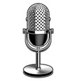 black and white of microphone vector image vector image