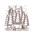 camping in forest line vector image vector image