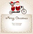 christmas card santa claus and christmas reindeer vector image