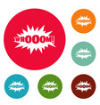 comic boom sticker icons circle set vector image