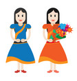 cute girl with bouquet of flowers vector image vector image