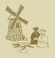 ears wheat sacks flour and windmill vector image vector image