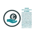 Euro Salary Hand Rounded Icon with 1000 Bonus vector image vector image