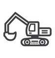 excavator line icon transport and vehicle digger vector image