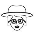 female face with hat and glasses short hair in vector image vector image