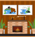 fireplace at hunters home rifle and pictures on vector image vector image