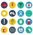 Flat icons set of medical tools and health care vector image vector image
