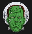 frankenstein face over full moon scary halloween vector image vector image